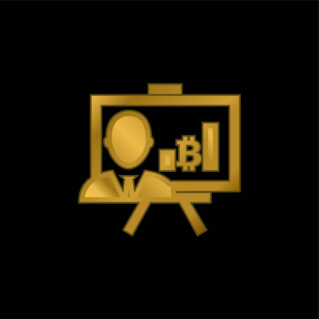 Bitcoin Presentation With Graphs And Reporter gold plated metalic icon or logo vector
