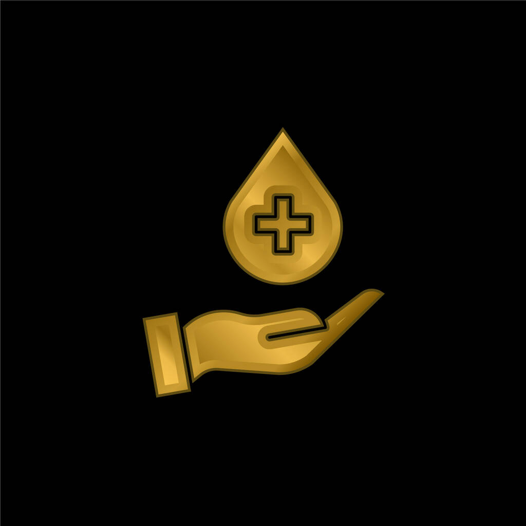 Blood Donation gold plated metalic icon or logo vector