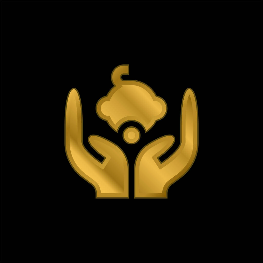 Baby gold plated metalic icon or logo vector