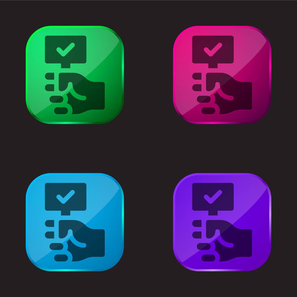 Auction four color glass button icon