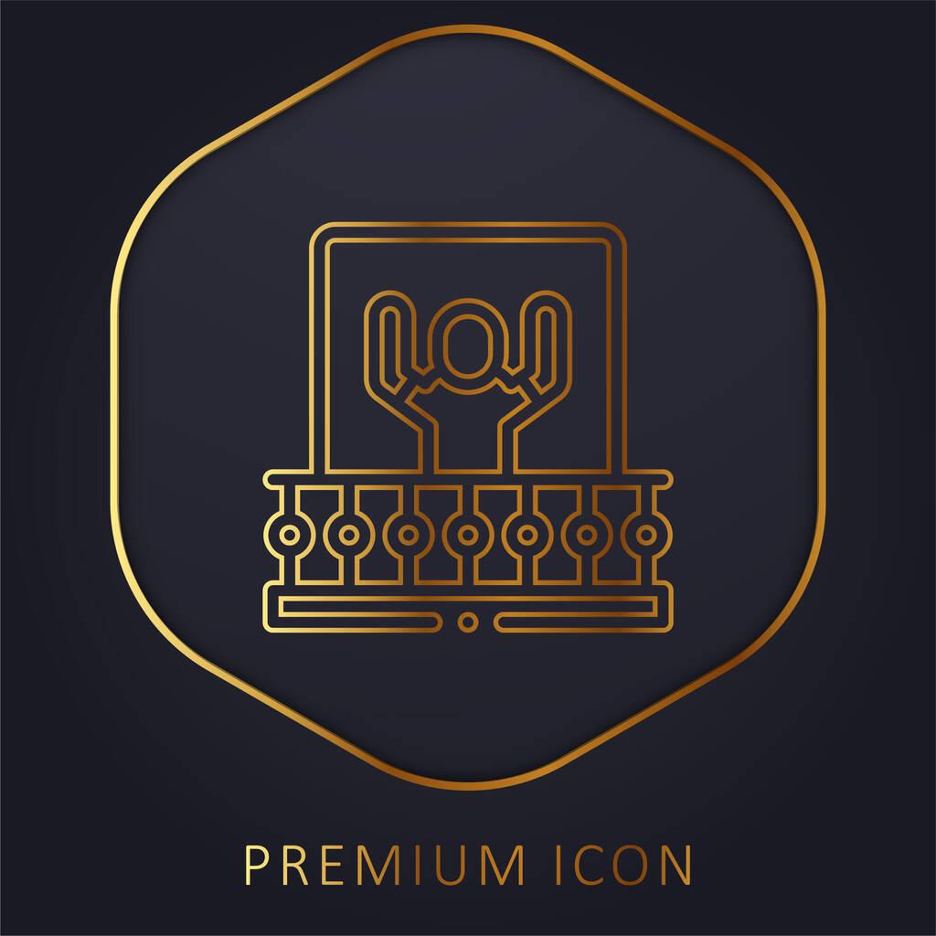 Balcony golden line premium logo or icon