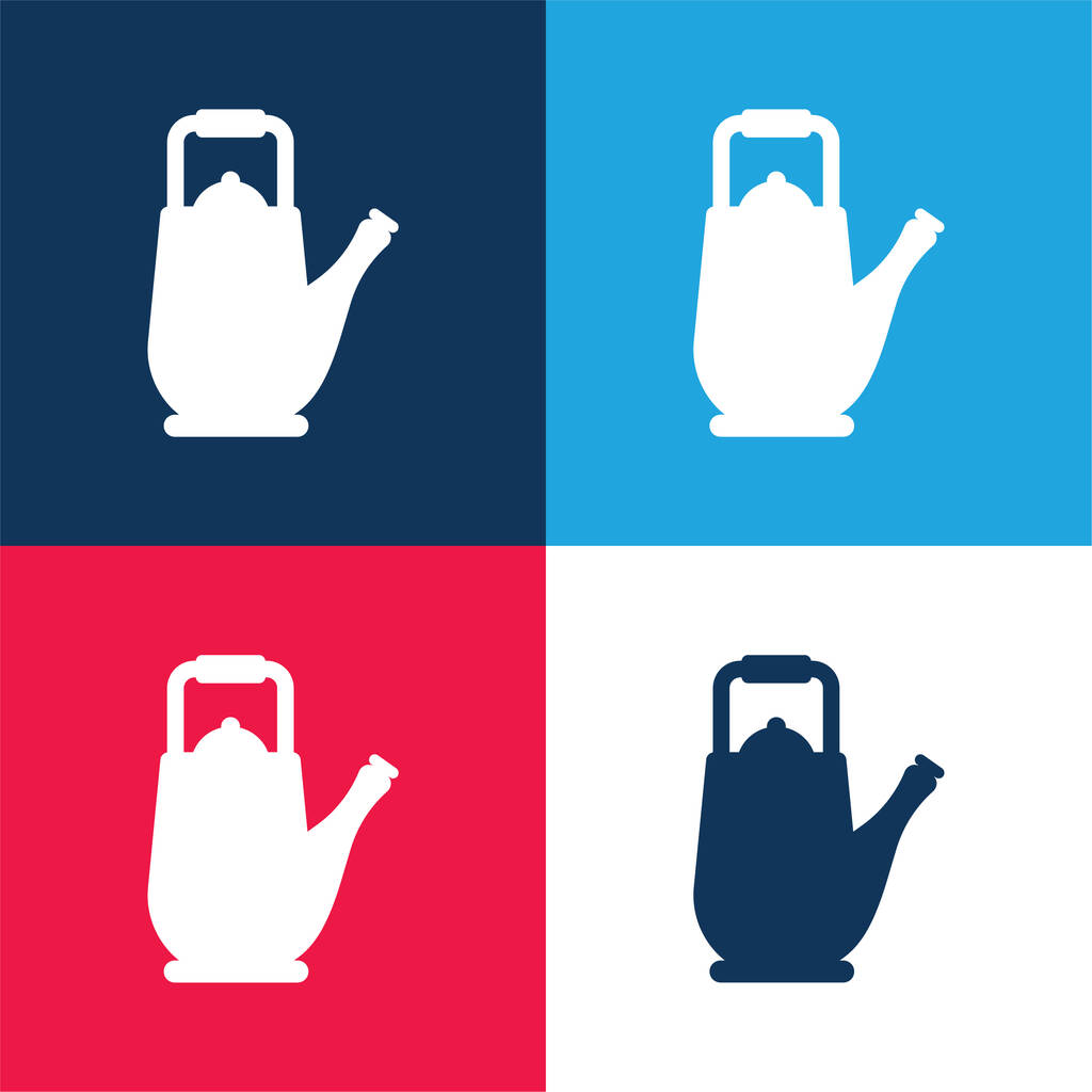Big Teapot blue and red four color minimal icon set