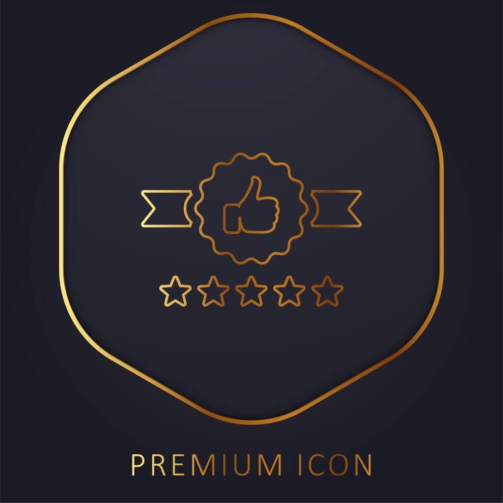 Badge golden line premium logo or icon