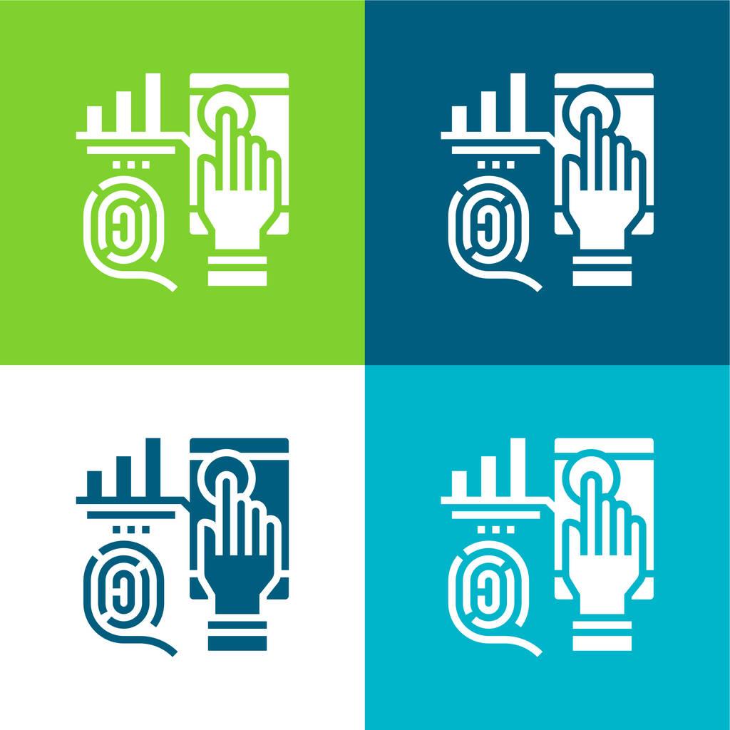 Biometric Flat four color minimal icon set