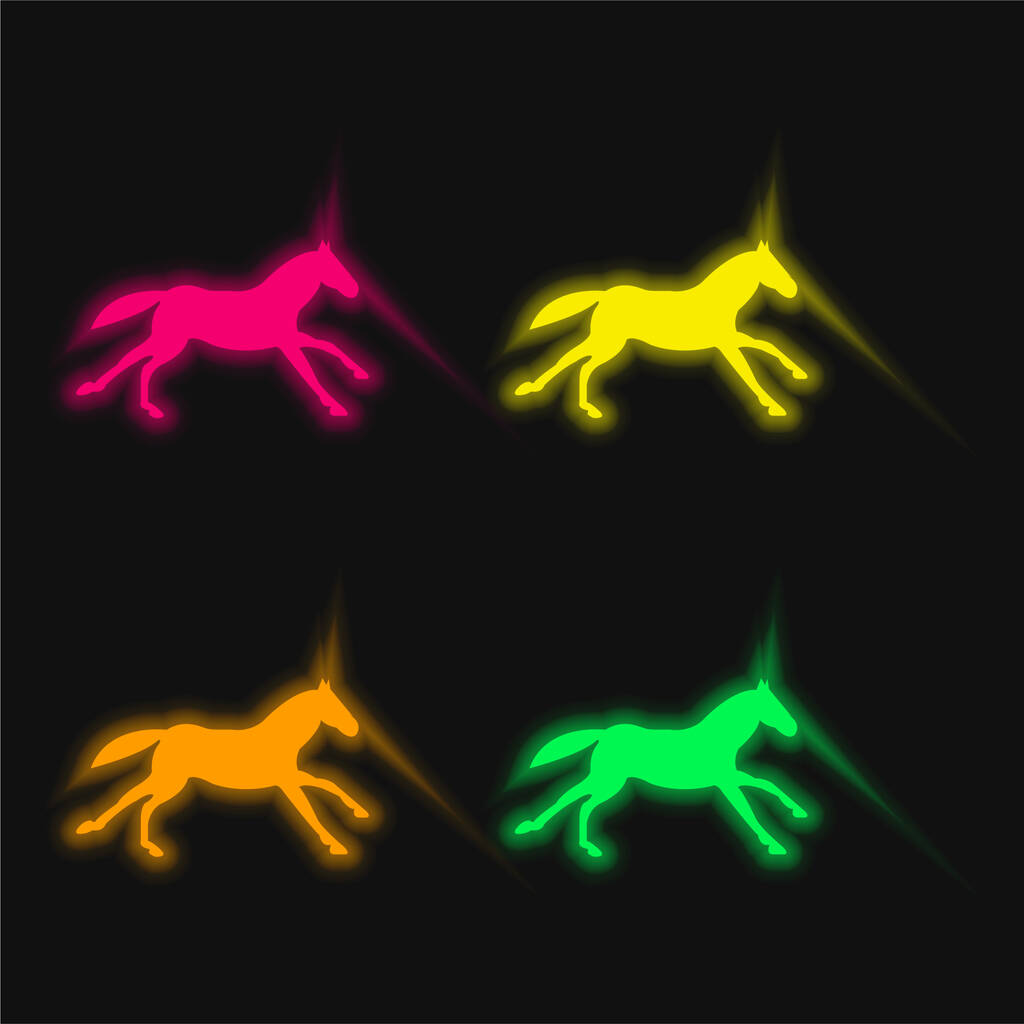 Black Running Horse four color glowing neon vector icon
