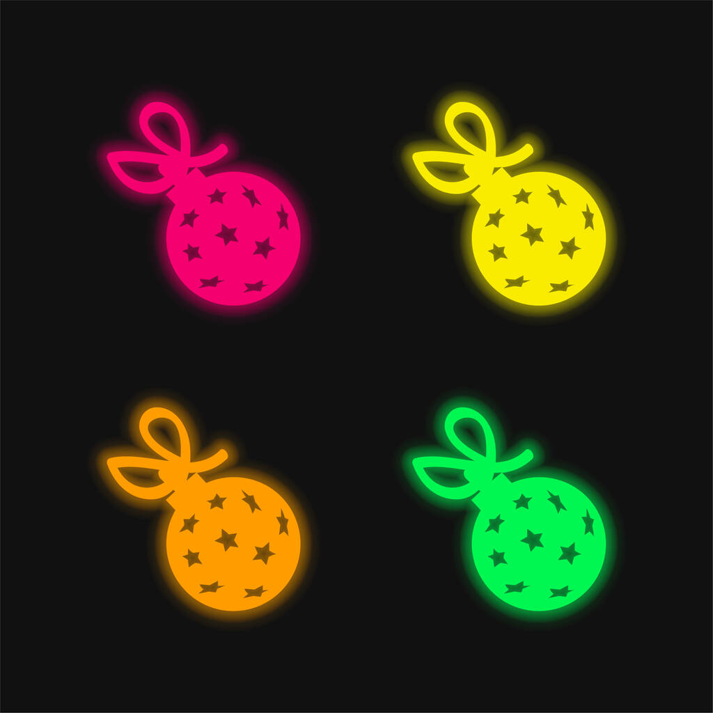 Ball With Stars And Ribbon four color glowing neon vector icon