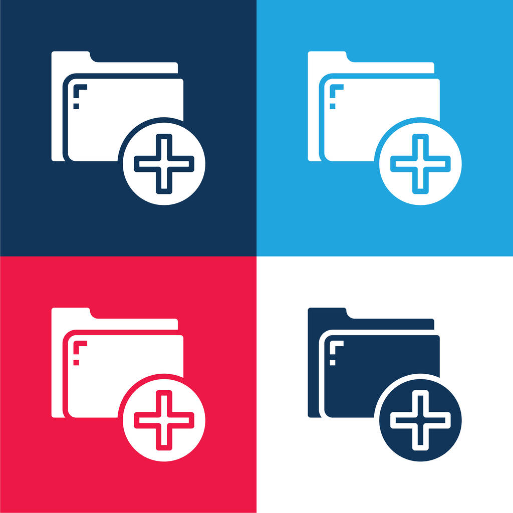 Add blue and red four color minimal icon set