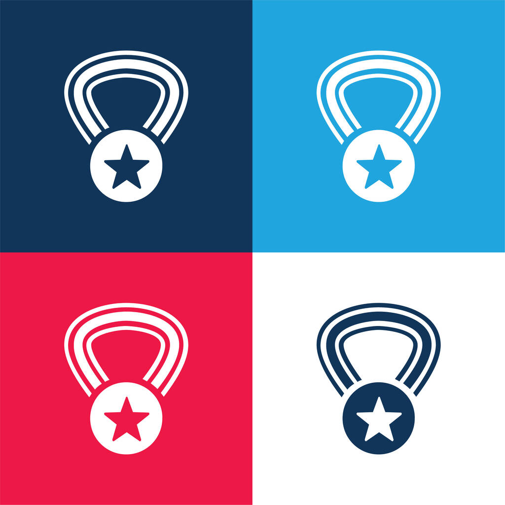 Award Medal With A Star On A Necklace blue and red four color minimal icon set