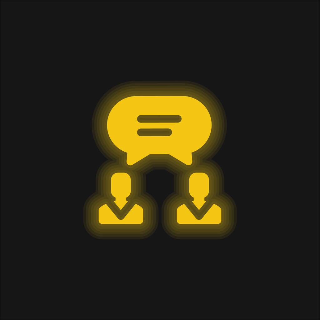 Agreement yellow glowing neon icon