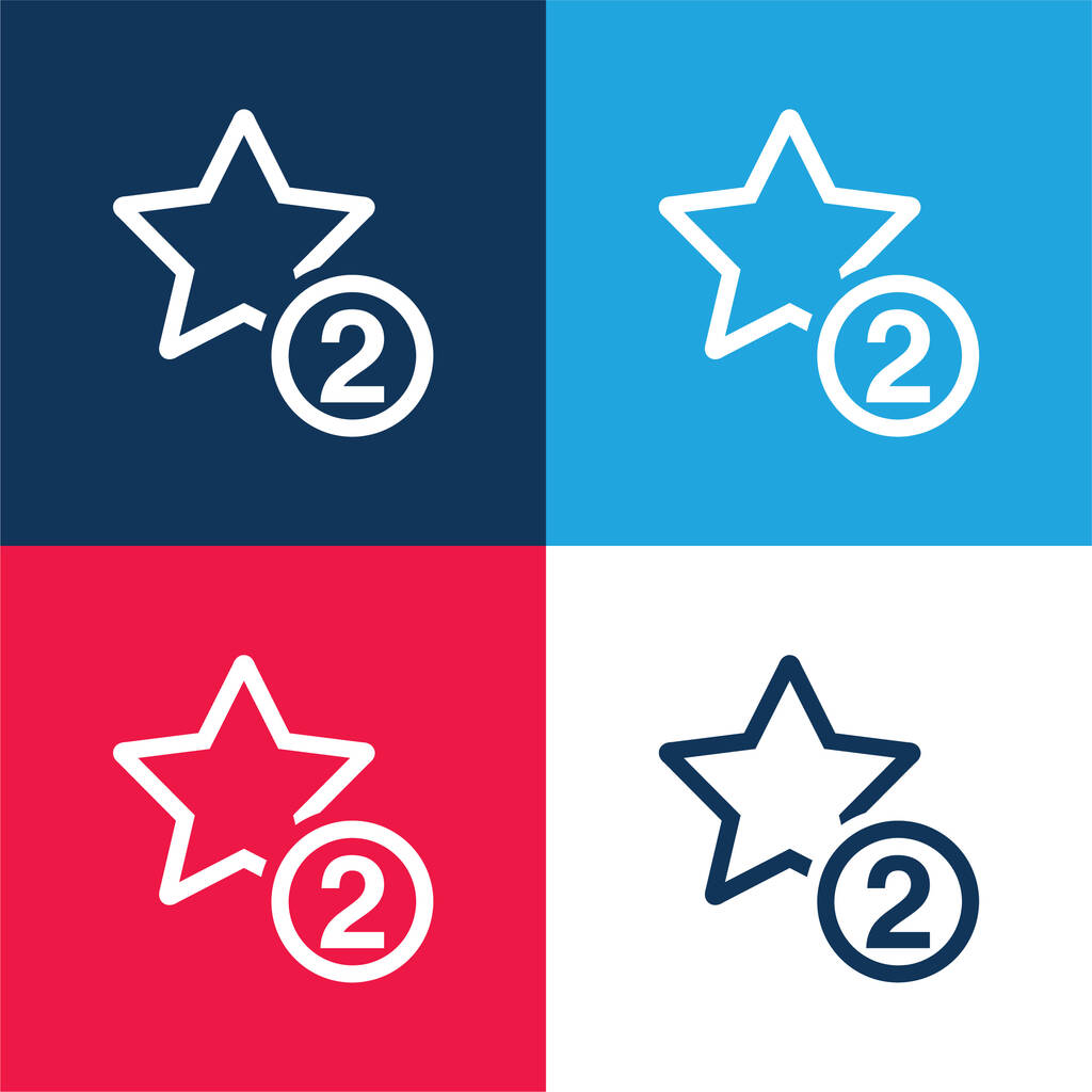 2 Stars Symbol blue and red four color minimal icon set