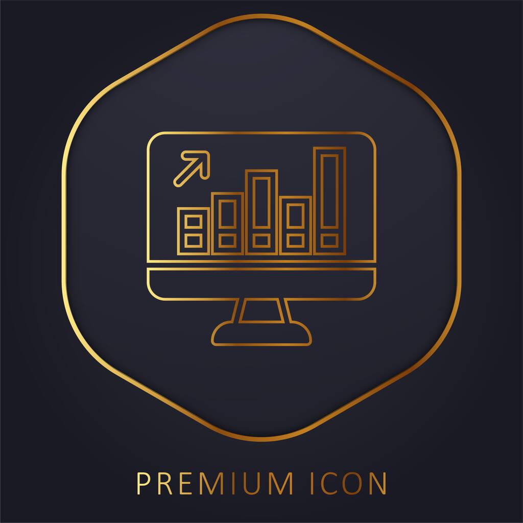 Analytics golden line premium logo or icon