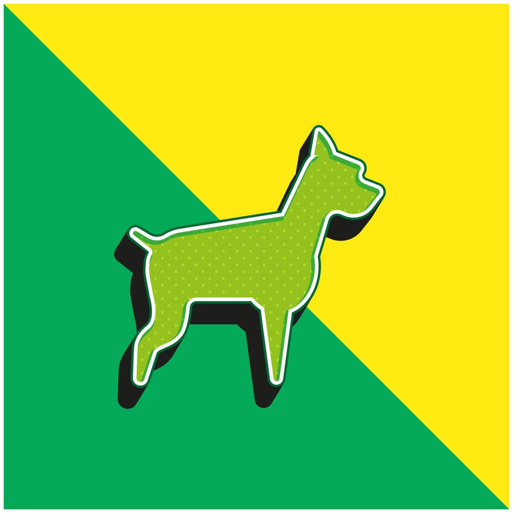 Big Dog Green and yellow modern 3d vector icon logo