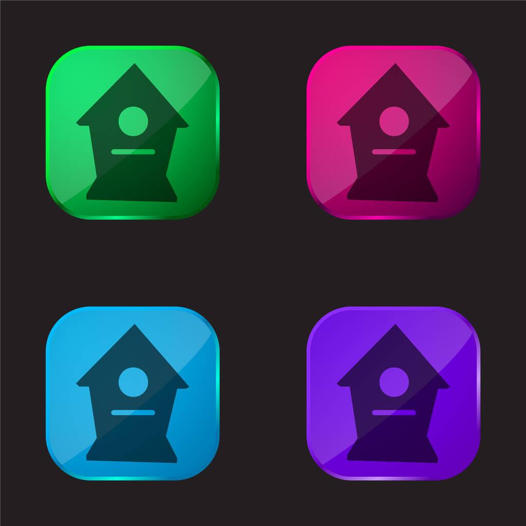 Birds Home four color glass button icon