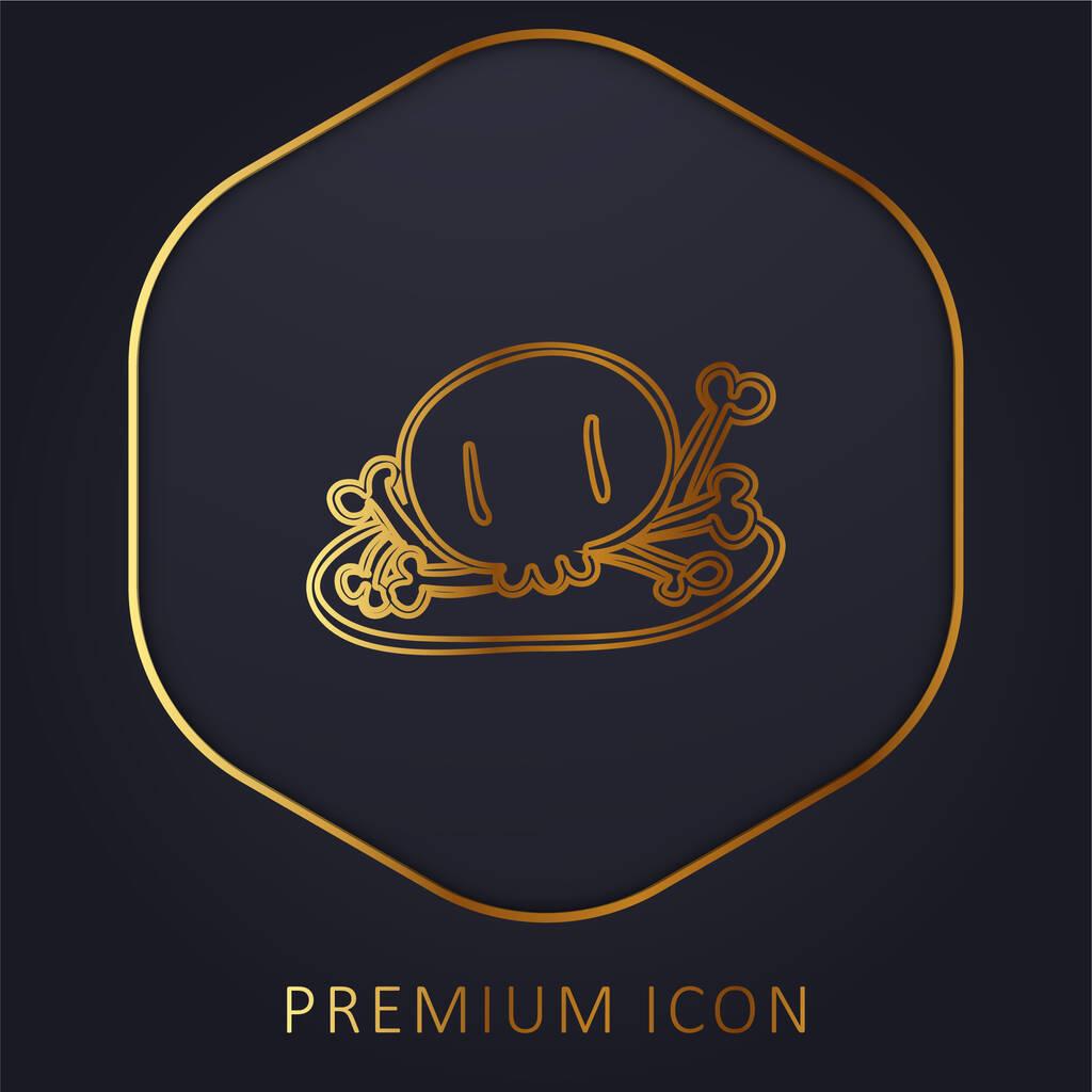 Bones Pile golden line premium logo or icon
