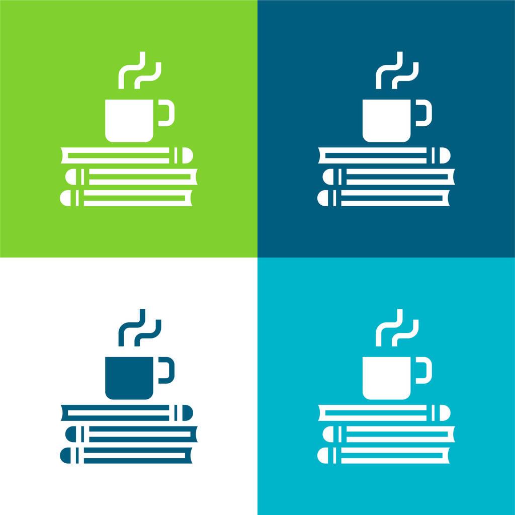 Break Time Flat four color minimal icon set