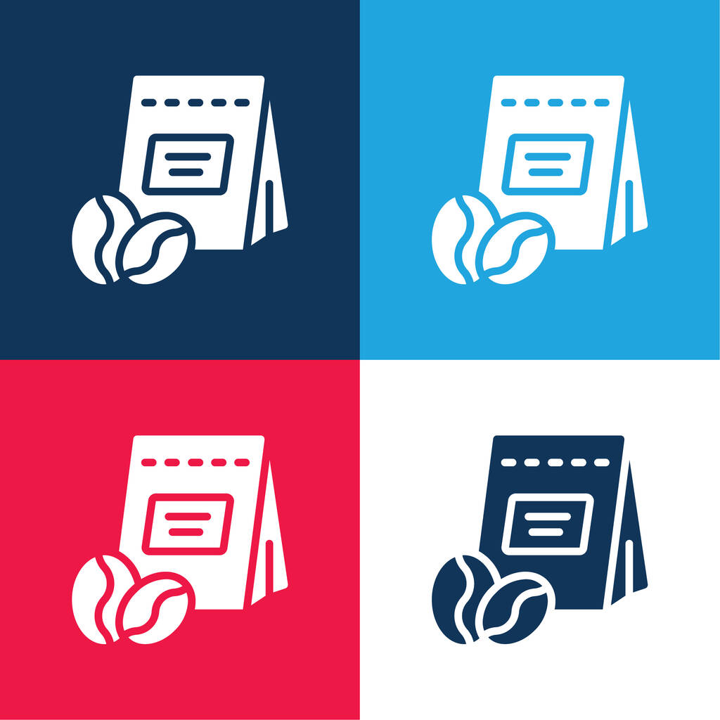 Beans blue and red four color minimal icon set