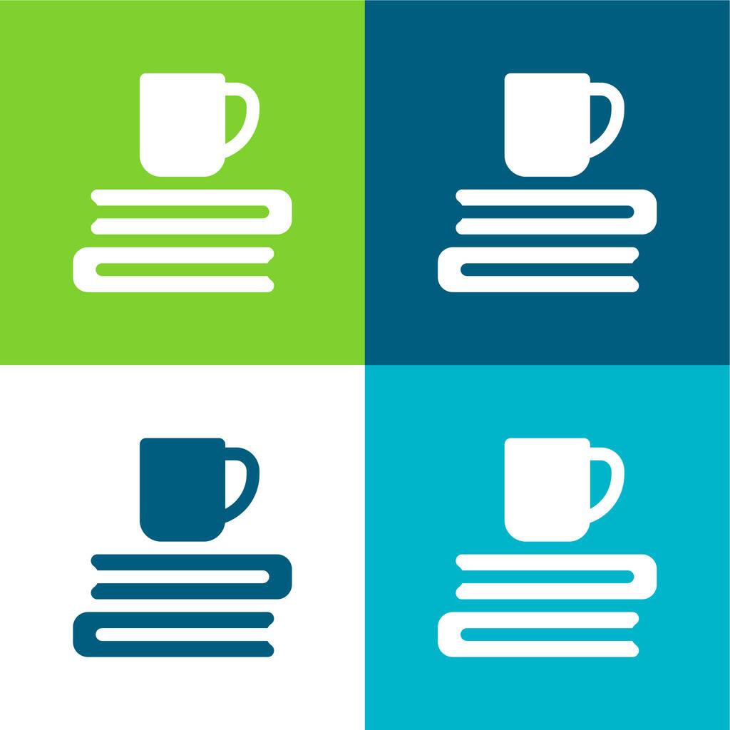 Books Flat four color minimal icon set