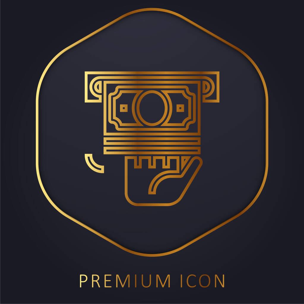 Atm golden line premium logo or icon