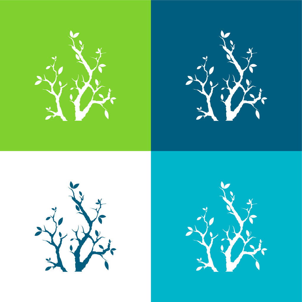 Branches With Leaves Flat four color minimal icon set