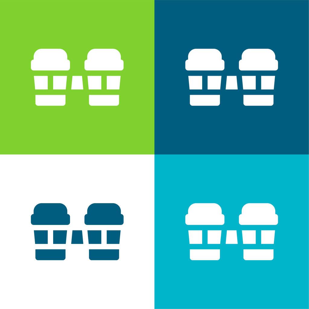Bongos Flat four color minimal icon set