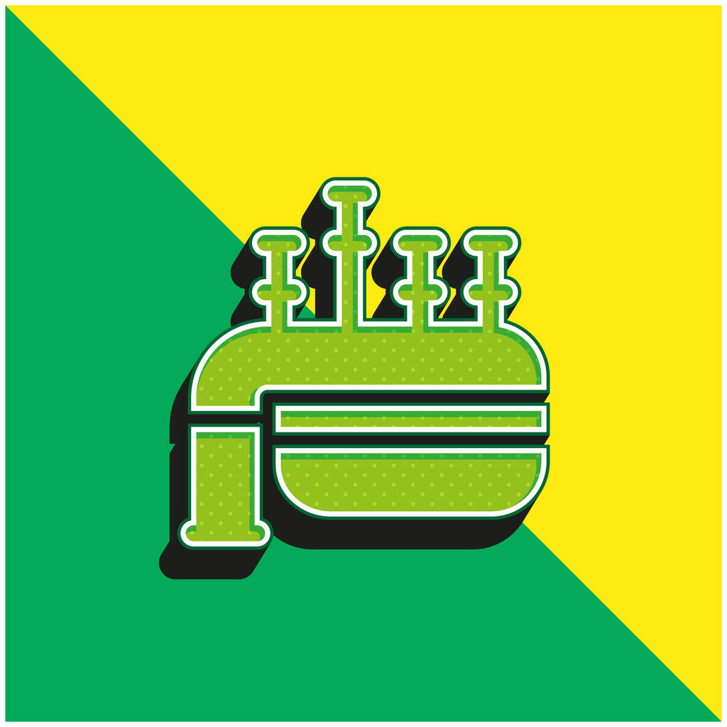 Bagpipe Green and yellow modern 3d vector icon logo