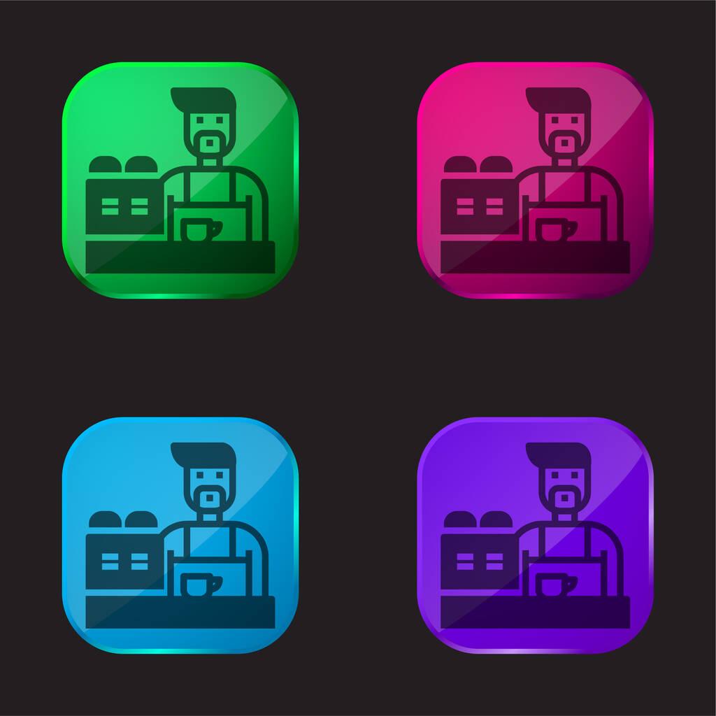 Barista four color glass button icon