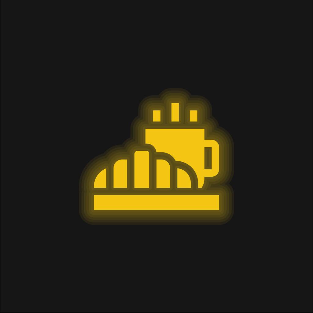 Breakfast yellow glowing neon icon