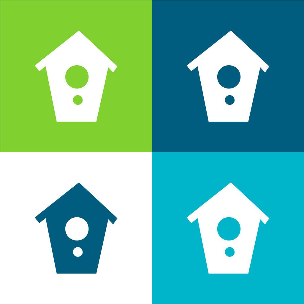 Birds House Flat four color minimal icon set