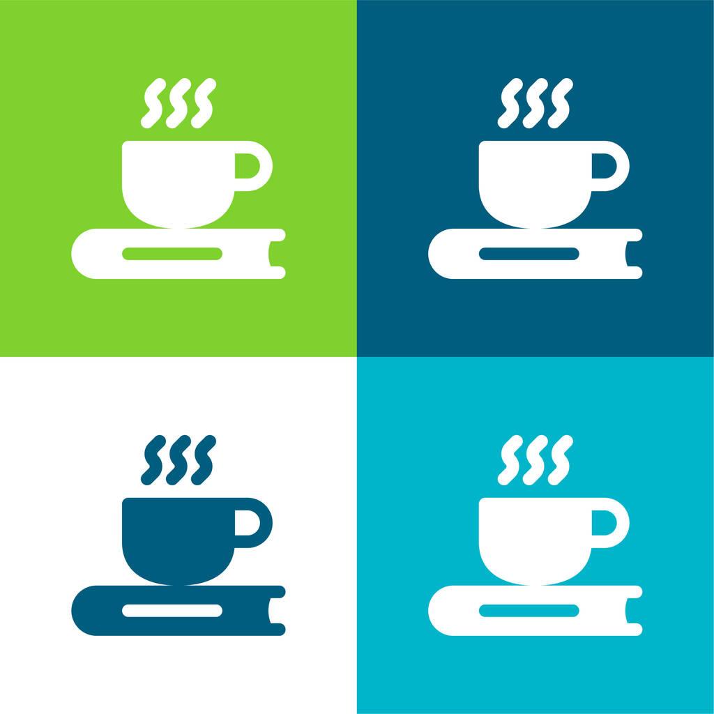Book Flat four color minimal icon set