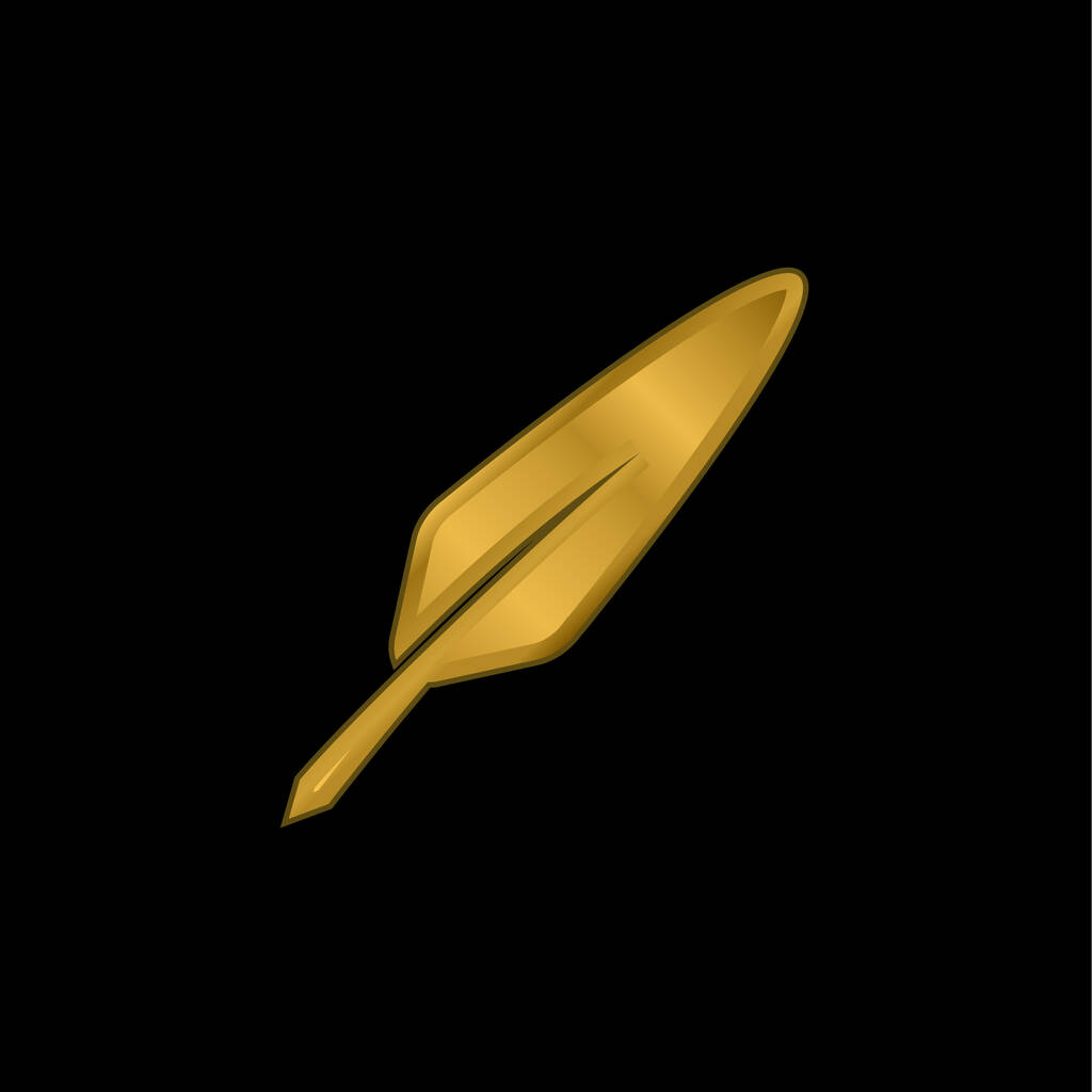 Bird Feather gold plated metalic icon or logo vector