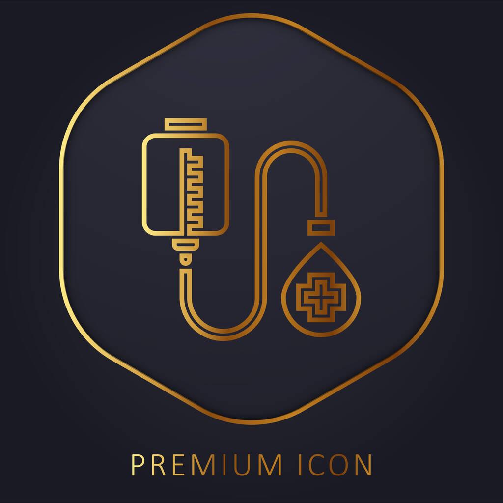 Blood Donation golden line premium logo or icon