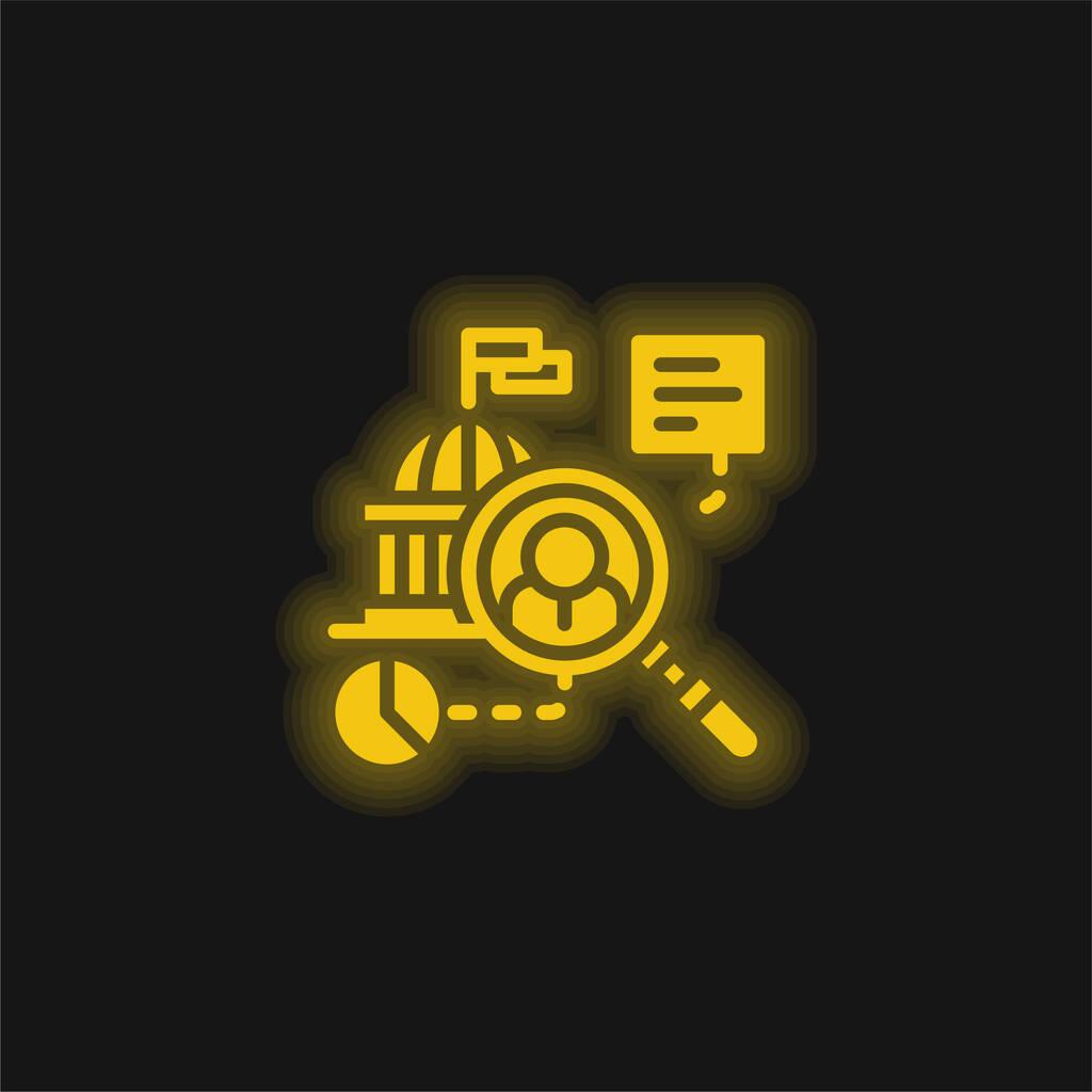 Analytics yellow glowing neon icon