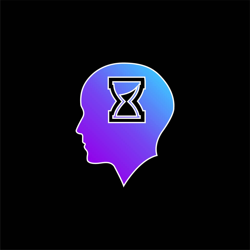Bald Head With Hour Glass Inside blue gradient vector icon