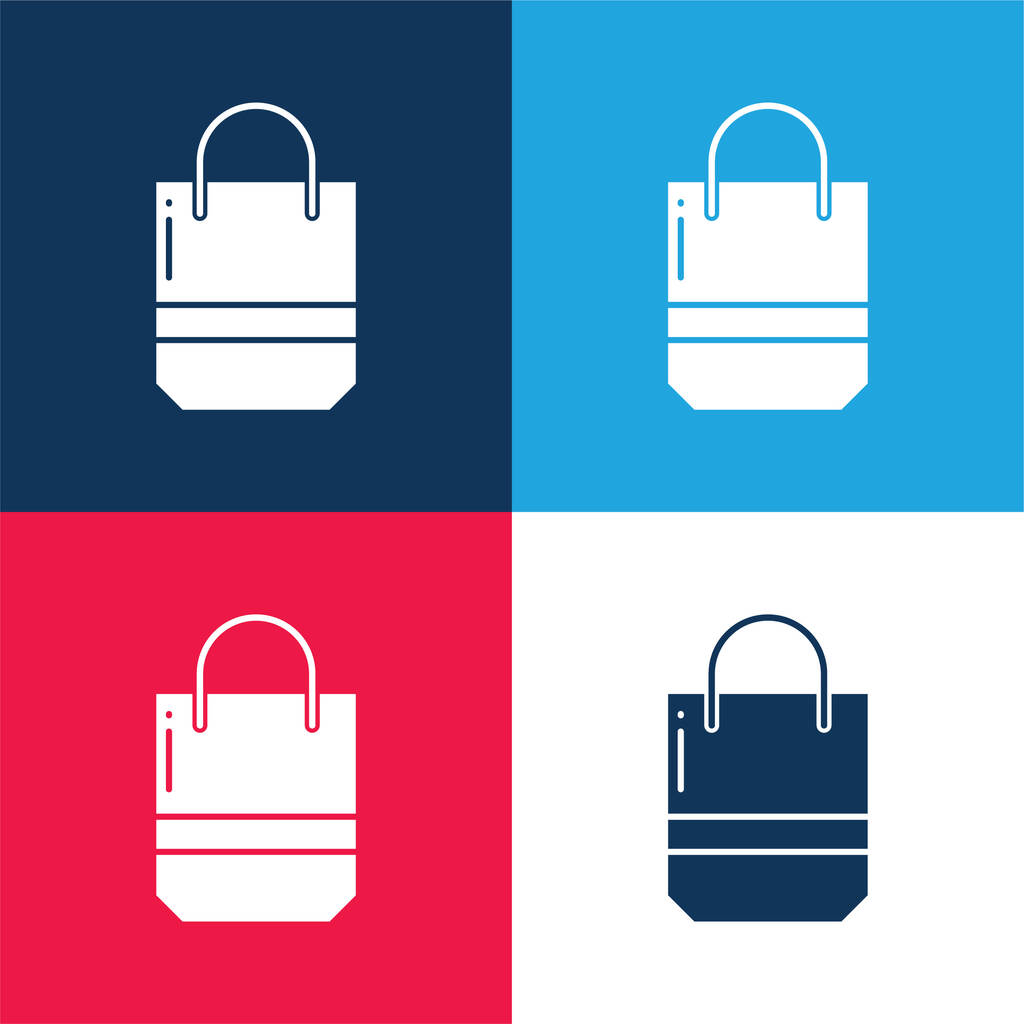 Bag blue and red four color minimal icon set