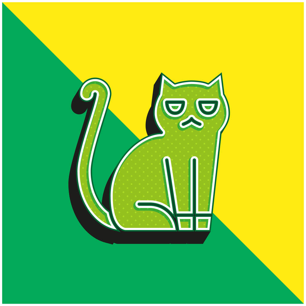 Black Cat Green and yellow modern 3d vector icon logo