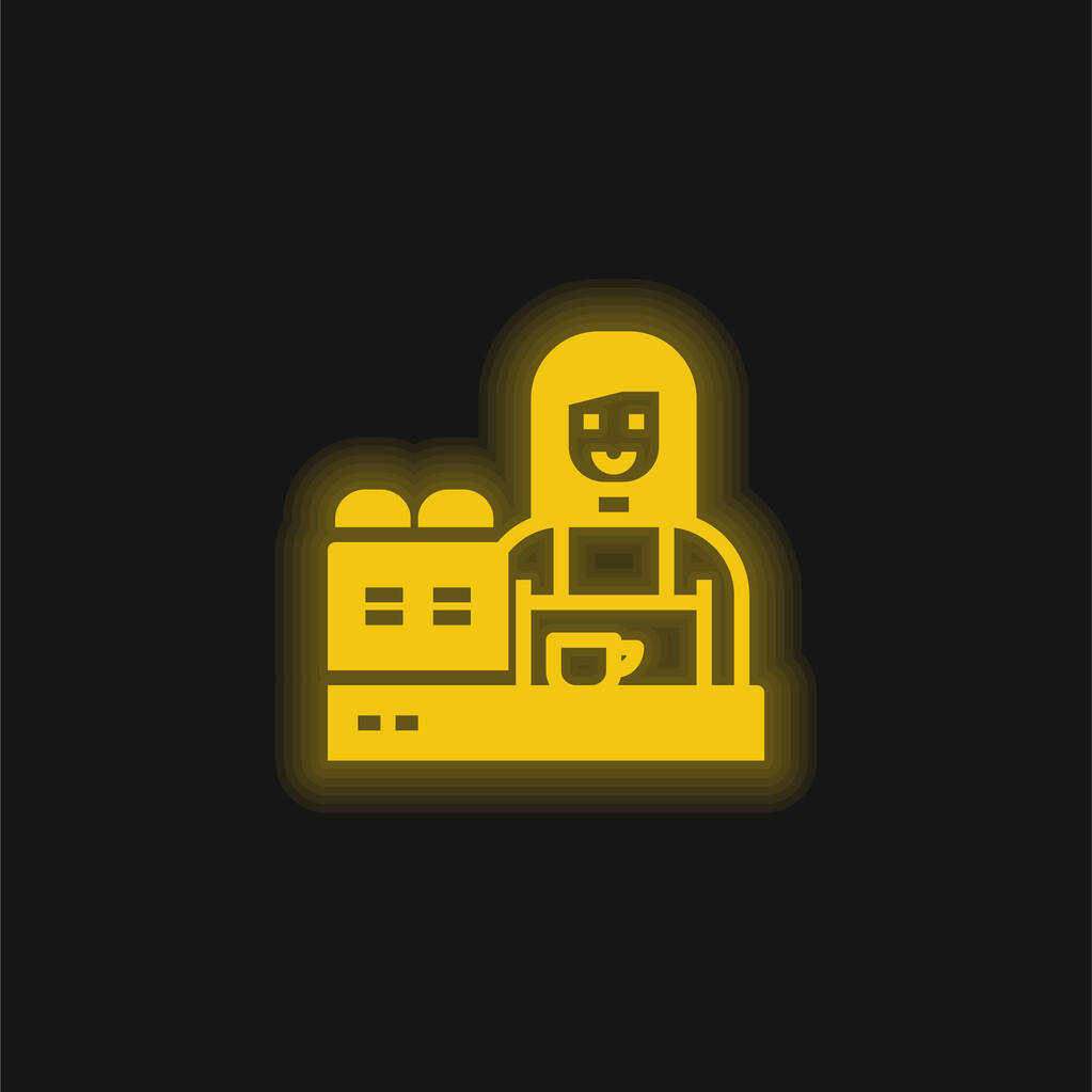 Barista yellow glowing neon icon
