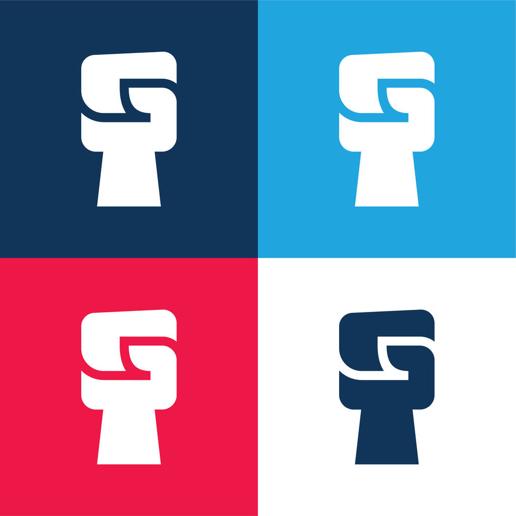 Black Power blue and red four color minimal icon set