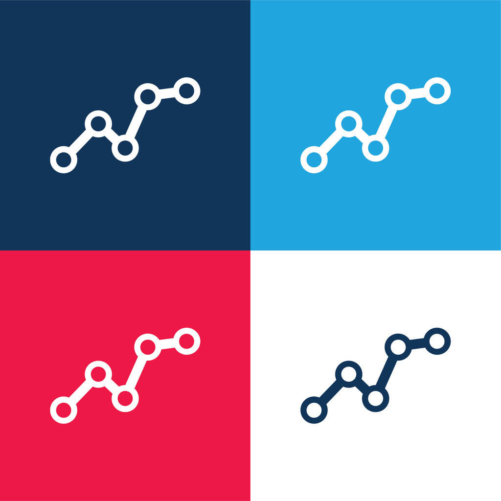 Ascending Business Graphic blue and red four color minimal icon set