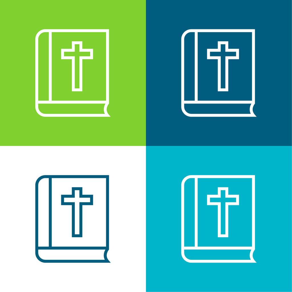 Bible Outline Flat four color minimal icon set