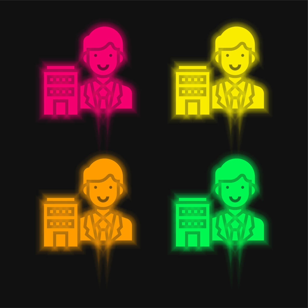 Agent four color glowing neon vector icon
