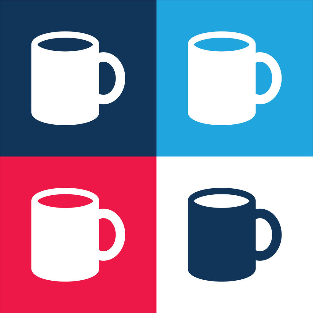 Big Cup blue and red four color minimal icon set