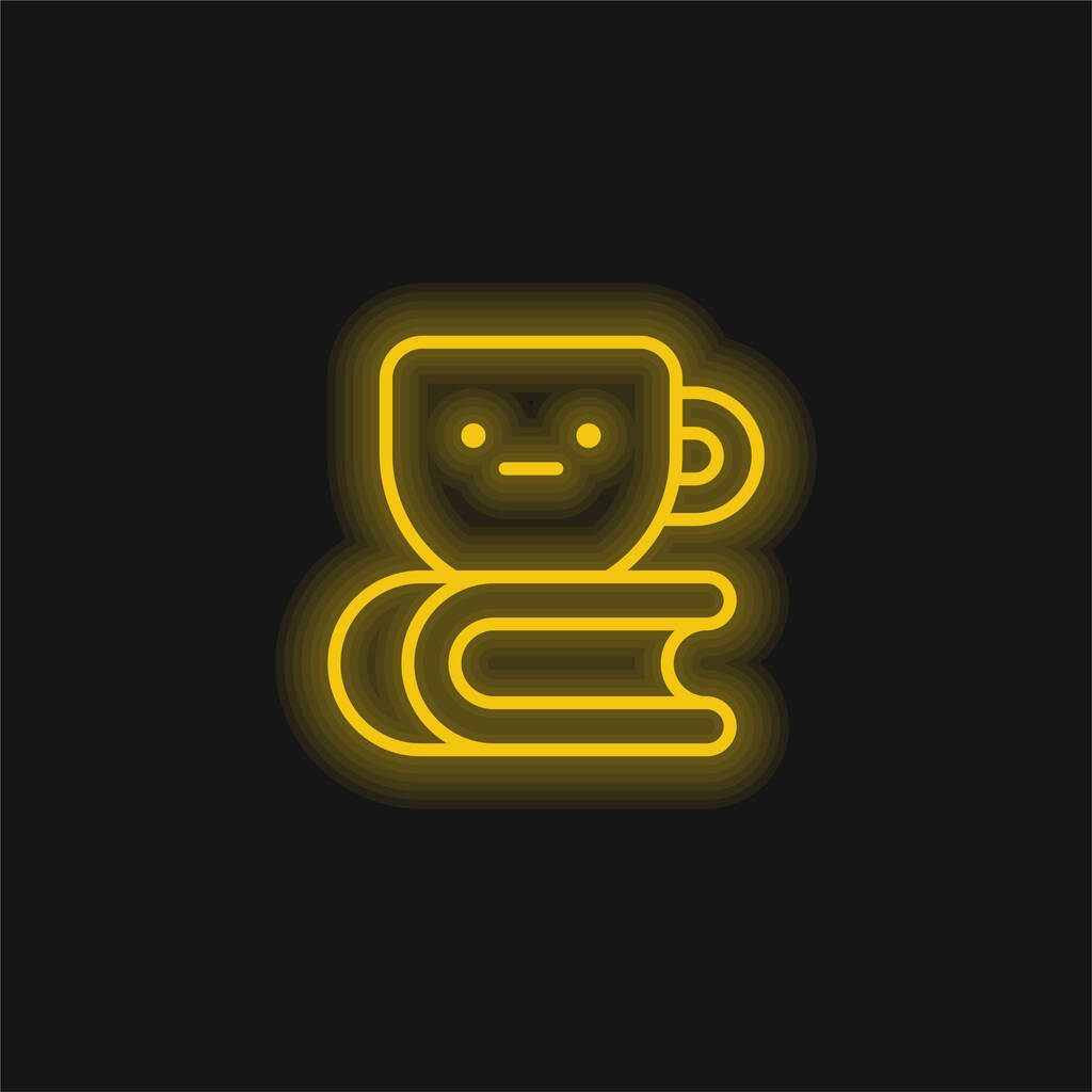 Book yellow glowing neon icon