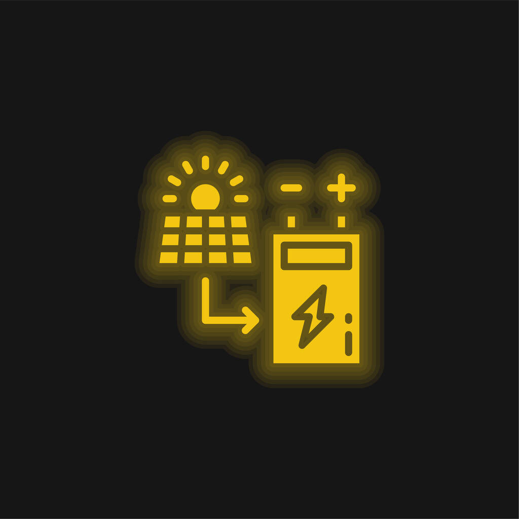 Battery yellow glowing neon icon