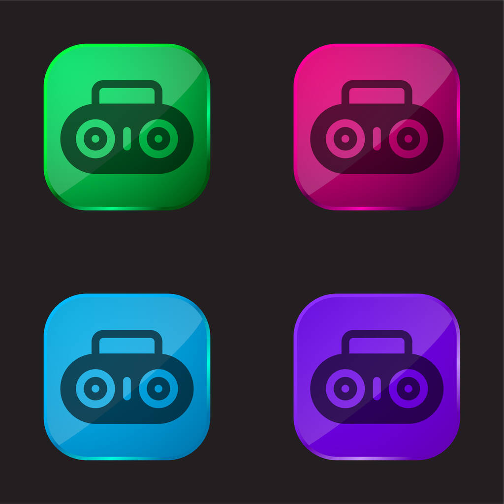Boombox four color glass button icon