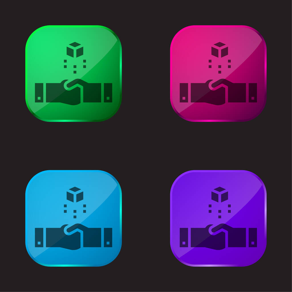Agreement four color glass button icon