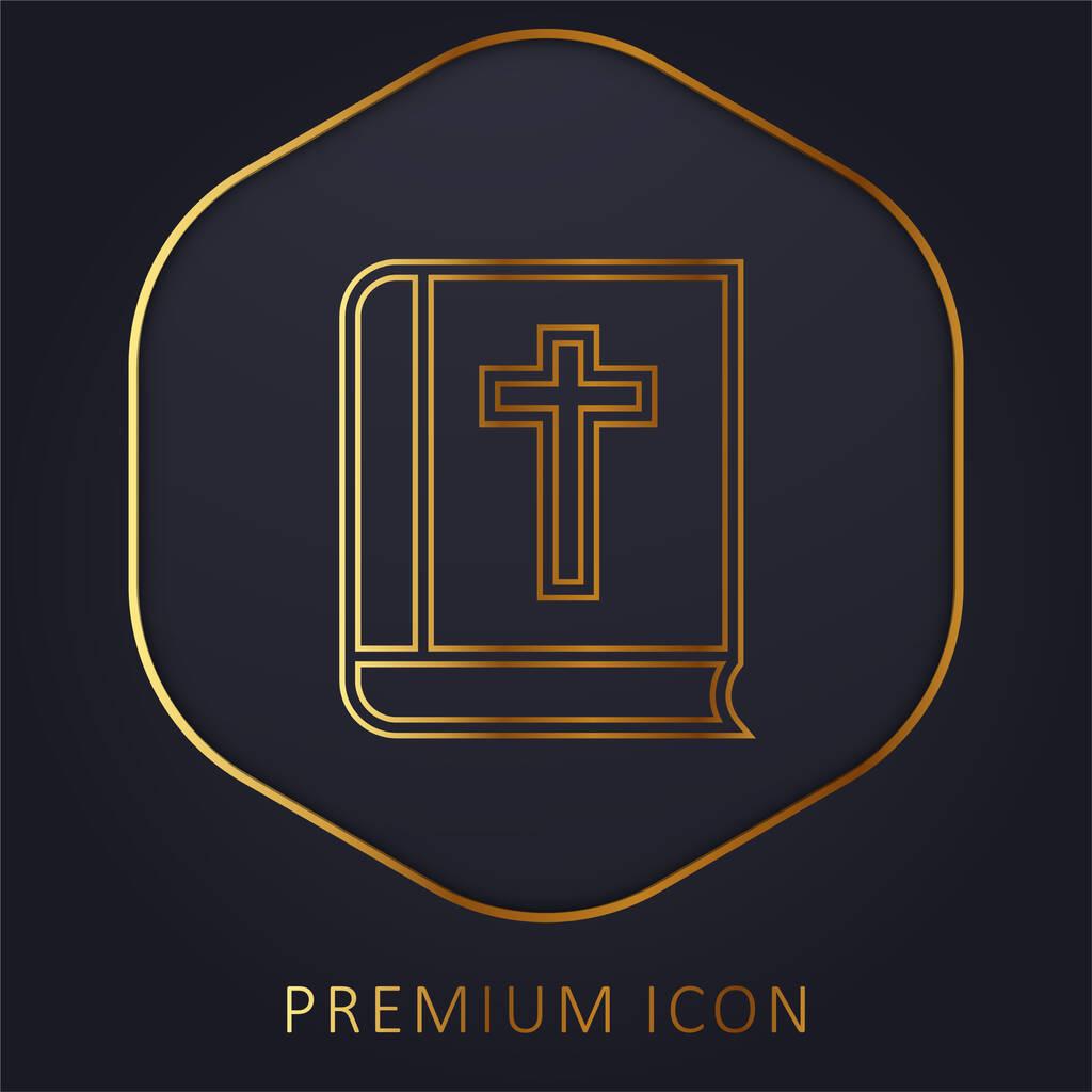 Bible Outline golden line premium logo or icon