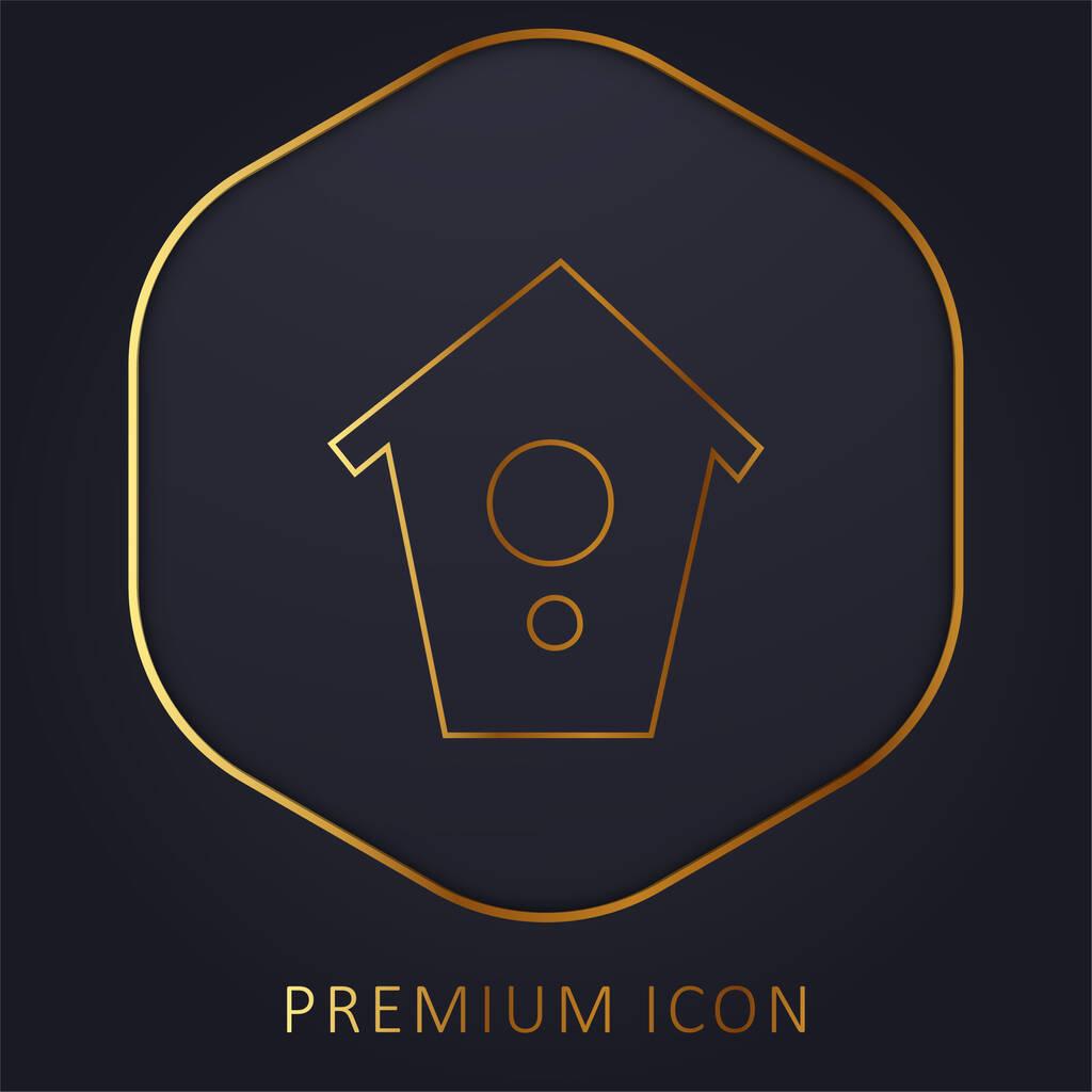 Birds House golden line premium logo or icon