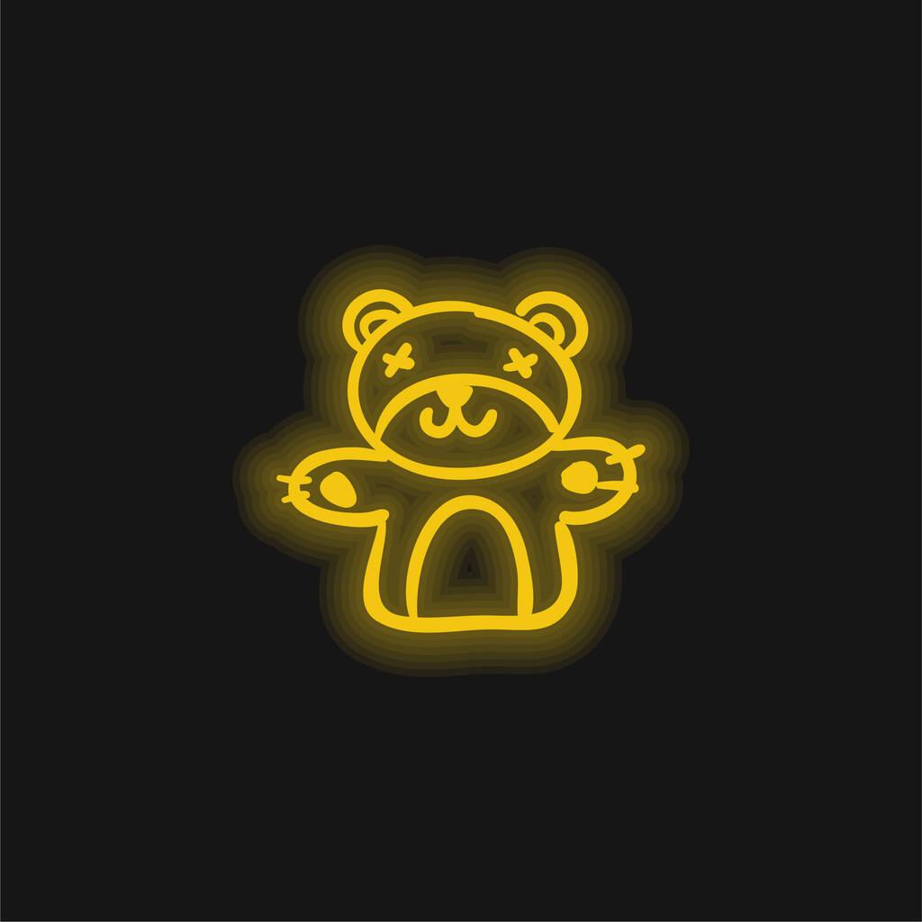 Bear Hand Drawn Animal Toy yellow glowing neon icon