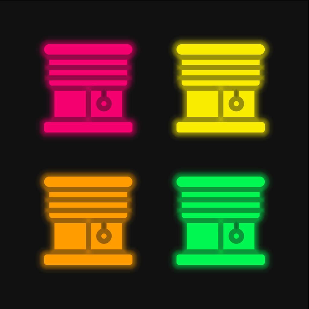 Blinds four color glowing neon vector icon