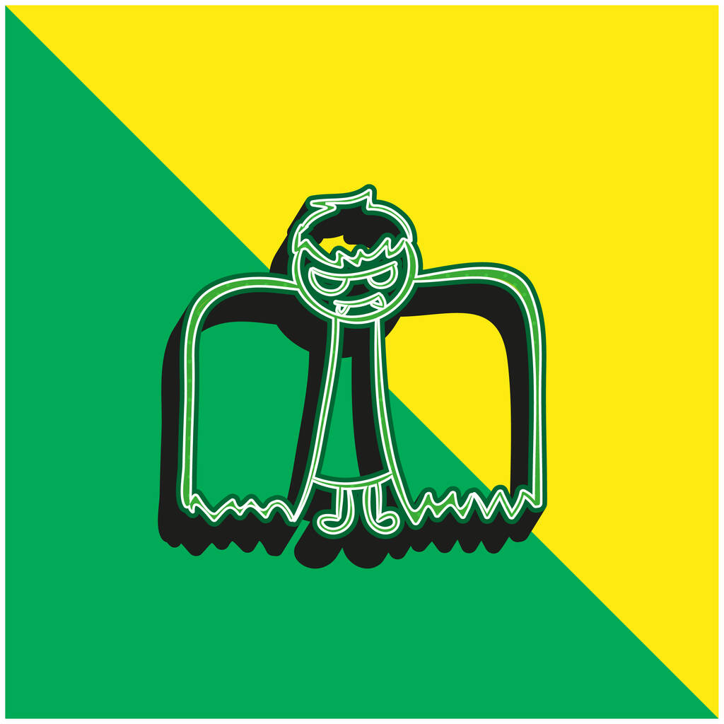 Boy With Halloween Winged Costume Green and yellow modern 3d vector icon logo